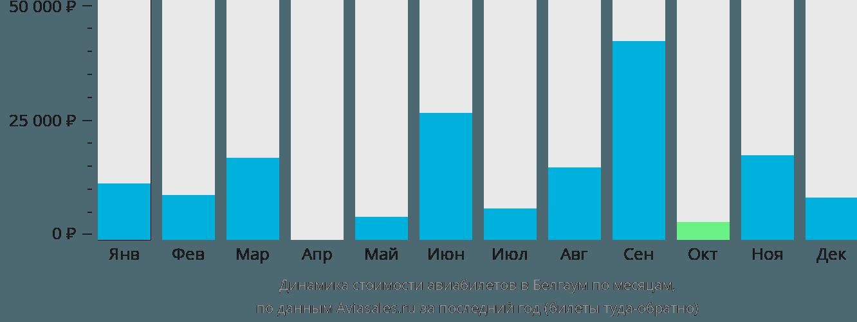 Динамика стоимости авиабилетов в Белгаум по месяцам