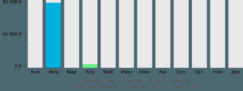 Динамика стоимости авиабилетов в Муках по месяцам