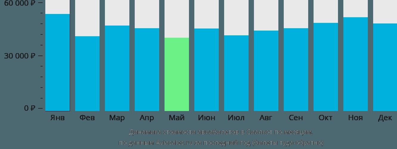 Динамика стоимости авиабилетов в Сиалкот по месяцам
