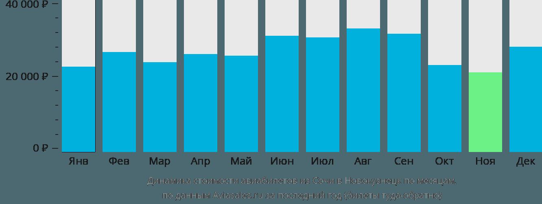 Динамика стоимости авиабилетов из Сочи в Новокузнецк по месяцам