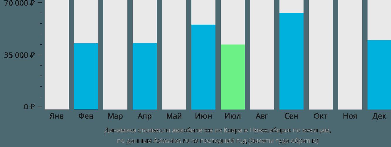 Динамика стоимости авиабилетов из Каира в Новосибирск по месяцам