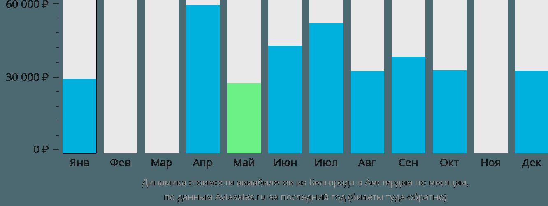 Динамика стоимости авиабилетов из Белгорода в Амстердам по месяцам