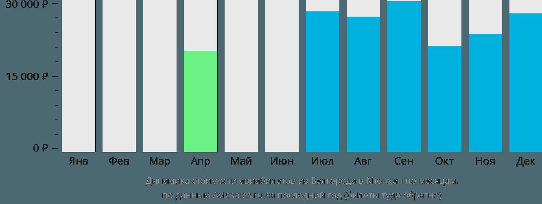 Динамика стоимости авиабилетов из Белгорода в Мюнхен по месяцам