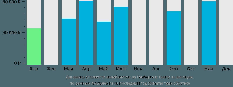 Динамика стоимости авиабилетов из Гамбурга в Тампу по месяцам