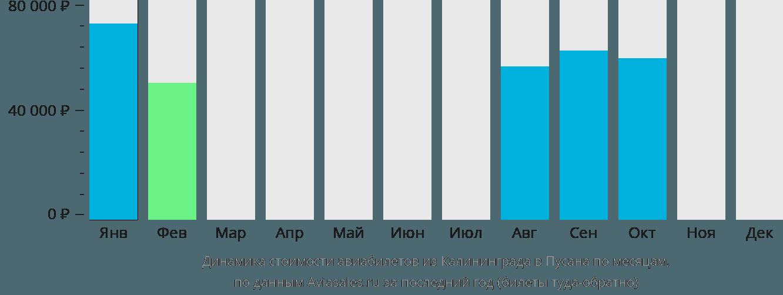 Динамика стоимости авиабилетов из Калининграда в Пусана по месяцам