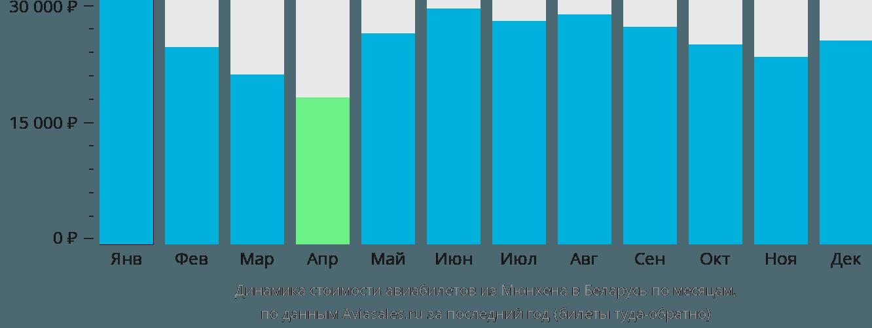 Динамика стоимости авиабилетов из Мюнхена в Беларусь по месяцам