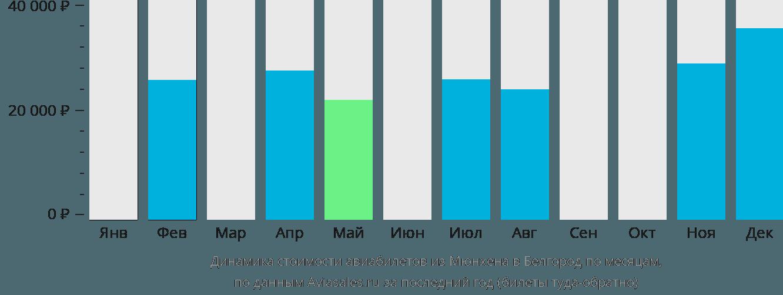 Динамика стоимости авиабилетов из Мюнхена в Белгород по месяцам