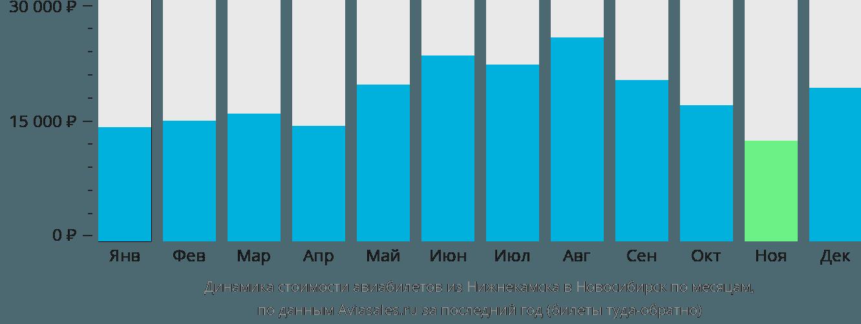 Динамика стоимости авиабилетов из Нижнекамска в Новосибирск по месяцам