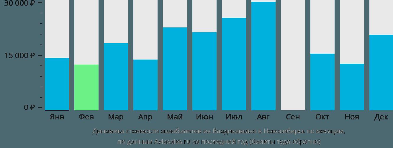 Динамика стоимости авиабилетов из Владикавказа в Новосибирск по месяцам