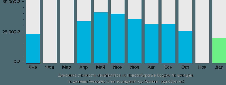Динамика стоимости авиабилетов из Новосибирска в Бодрум по месяцам