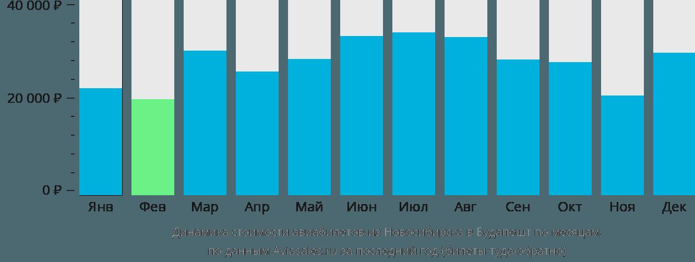 Динамика стоимости авиабилетов из Новосибирска в Будапешт по месяцам