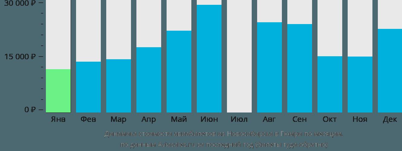 Динамика стоимости авиабилетов из Новосибирска в Гюмри по месяцам