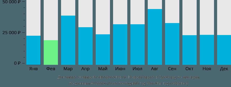 Динамика стоимости авиабилетов из Новосибирска в Салехард по месяцам