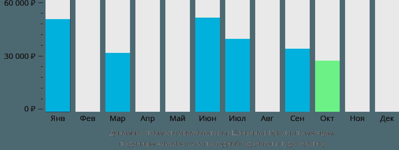 Динамика стоимости авиабилетов из Шэньяна в Иркутск по месяцам