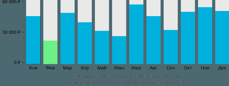 Динамика стоимости авиабилетов из Кастри по месяцам