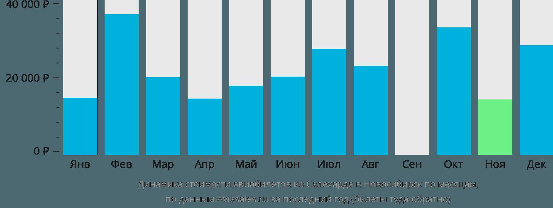 Динамика стоимости авиабилетов из Салехарда в Новосибирск по месяцам