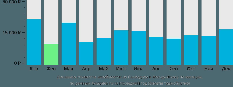 Динамика стоимости авиабилетов из Салвадора в Фос-ду-Игуасу по месяцам