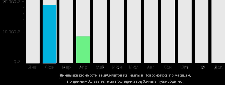 Динамика стоимости авиабилетов из Тампы в Новосибирск по месяцам