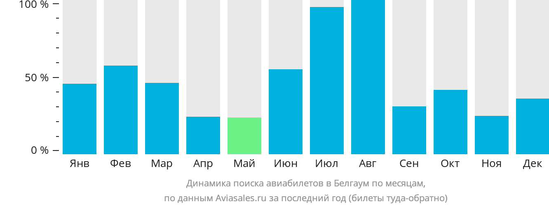 Динамика поиска авиабилетов в Белгаум по месяцам