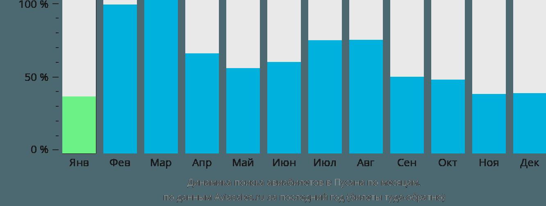 Динамика поиска авиабилетов в Пусана по месяцам
