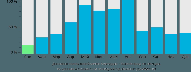 Динамика поиска авиабилетов из Амстердама в Калининград по месяцам